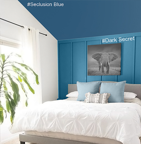 idée déco chambre adulte bleu, nuancier Mauvilac
