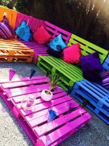 Inspiration meuble palette coloré